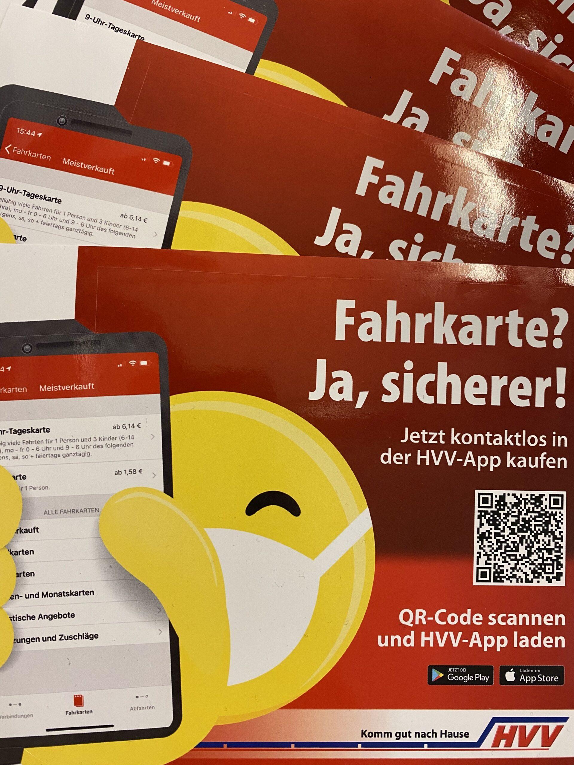 Aufkleber für die App des Hamburger Verkehrsverbundes